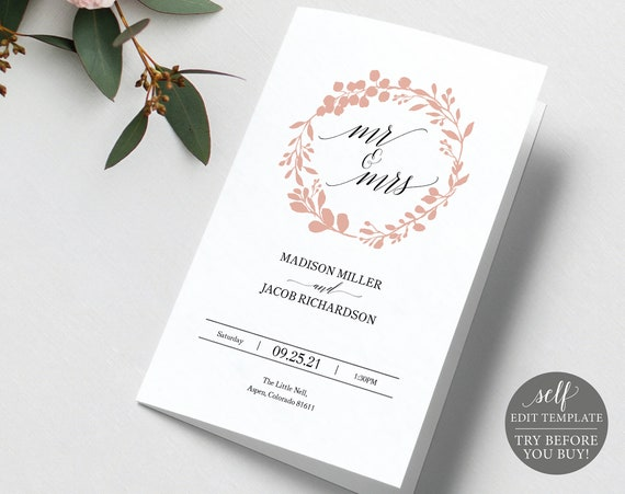 Wedding Program Template Folded, Rose Gold Wreath, Editable Instant Download, TRY BEFORE You BUY