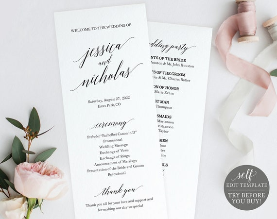 Wedding Program Template, Free Demo Available, Editable Instant Download, Calligraphy