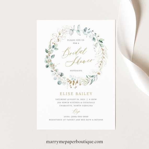 Bridal Shower Invitation Template, Gold & Greenery, Bridal Shower Invite Printable, INSTANT Download, Templett, Editable
