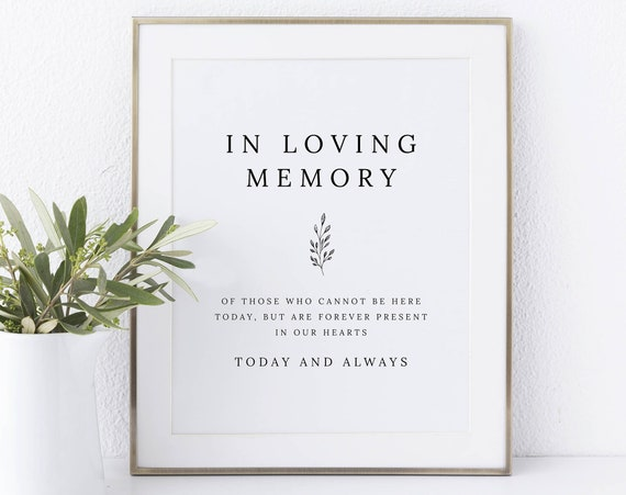 In Loving Memory Sign Template, Formal Botanical, Instant Download Non-Editable