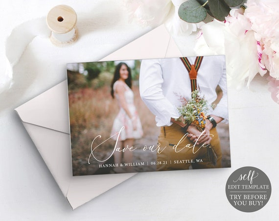 Photo Card Save The Date Template, TRY BEFORE You BUY, 100% Editable Instant Download