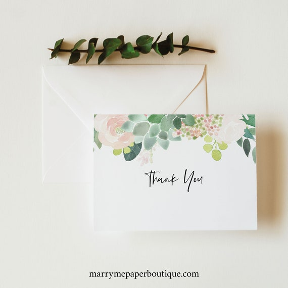 Succulent Floral Thank You Card Template, Green & Blush, Folded Card Printable, Templett Editable, Instant Download