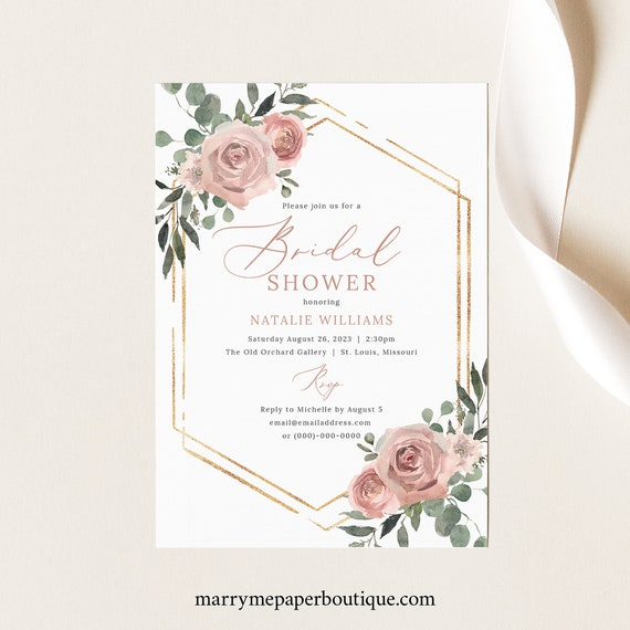 Bridal Shower Invite Template, Dusky Pink Floral, Bridal Shower Invitation Printable, Templett Instant Download, Try Before Purchase