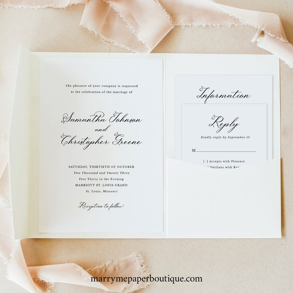 Wedding Invitation Template Set, Elegant Romantic Script, Pocketfold Wedding Invite Suite, Printable, Editable, Templett INSTANT Download