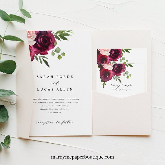 Wedding Invitation Template Set, Burgundy Flowers, Pocketfold Wedding Invite Set Printable, Templett Instant Download, Try Before You Buy
