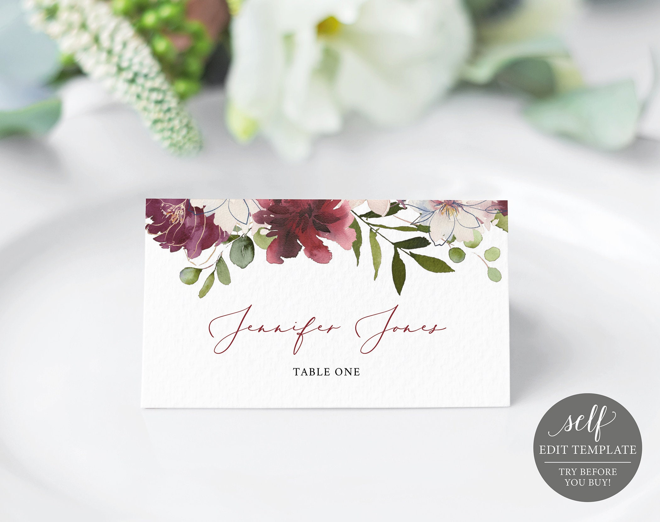 Wedding Place Card Template 100 Editable Floral Place Cards