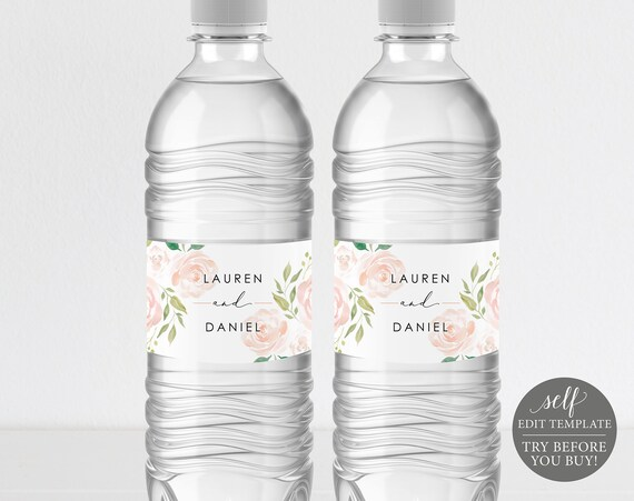 Wedding Water Bottle Label Template, Label Printable, Instant Download, 100% Editable, Pink & Blush Floral, Elegant, TRY BEFORE You BUY