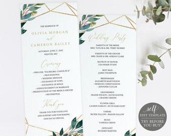 Wedding Program Template, TRY BEFORE You BUY, Greenery Geometric, Editable Instant Download