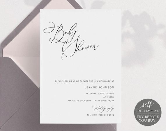 Baby Shower Invitation Template, Minimalist Portrait, Editable & Printable Instant Download, Templett