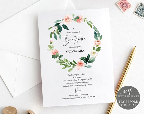 Baptism Invitation Template, TRY BEFORE You BUY, Fully Editable Instant Download, Blush Pink Floral Greenery