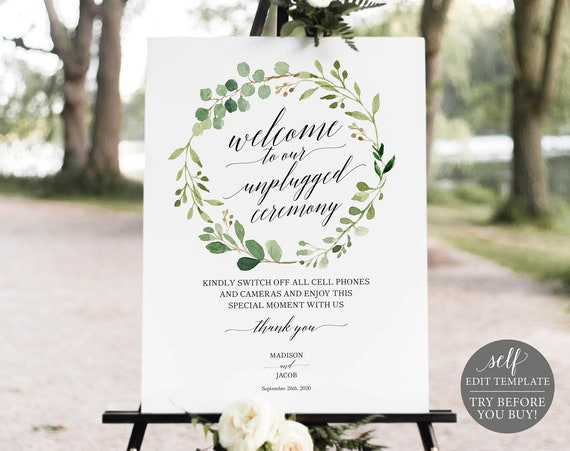 Unplugged Ceremony Sign Template, Greenery, Editable Instant Download, TRY BEFORE You BUY