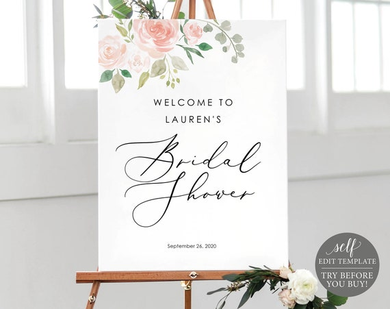 Bridal Shower Sign Template, TRY BEFORE You BUY, Editable Instant Download, Blush Pink Floral
