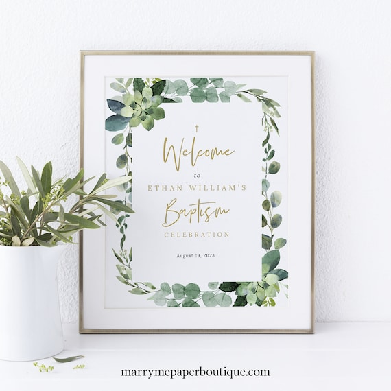 Small Baptism Welcome Sign Template, Lush Greenery, Baptism Table Sign, Printable, Editable, 8x10 Baptism Sign, Templett INSTANT Download