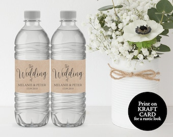 Wedding Water Bottle Label, Printable Water Bottle Label, Water Bottle Label Template, Rustic Wedding Label, PDF Instant Download, MM02-2