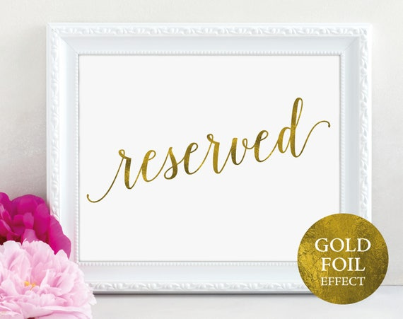 Gold Reserved Table Sign, Reserved Printable, Reserved Wedding, Reserved Sign, Reserved, Wedding Printable, PDF Instant Download, MM01-3