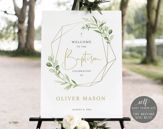 Baptism Welcome Sign Template, Greenery & Gold, Editable Printable Instant Download, Templett, Demo Available