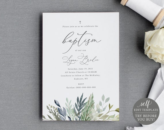Baptism Invitation Template, 100% Editable Instant Download, Green & Blue Foliage, TRY BEFORE You BUY