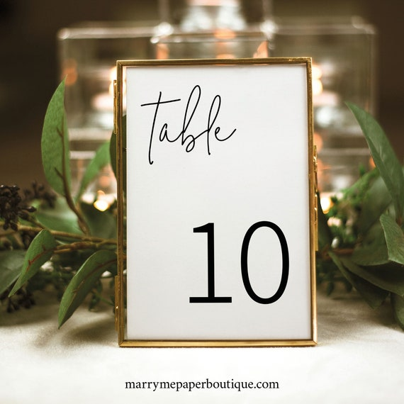 Table Number Template, Minimalist Elegant, Editable & Printable Instant Download, Templett, Try Before Purchase