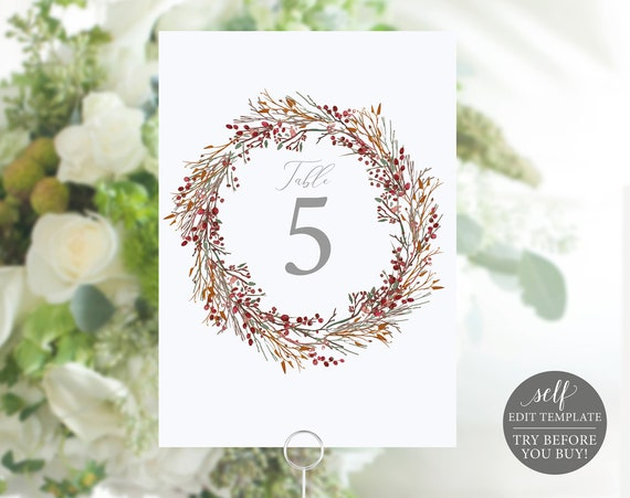 Table Number Template, Winter Wedding Printable, Instant Download, 100% Editable, TRY BEFORE You BUY