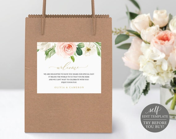 Welcome Bag Label Template, TRY BEFORE You BUY, Self Edit Instant Download, Pink Blush Floral