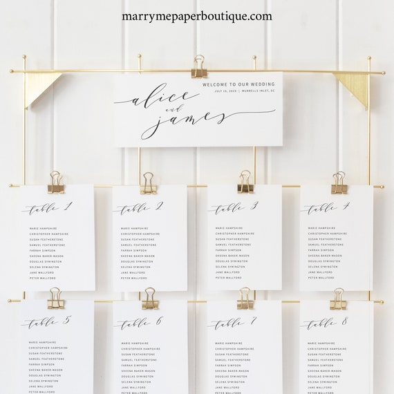 Elegant Seating Cards Template, Modern Wedding Seating Chart Cards, Printable, Templett, Fully Editable, INSTANT Download