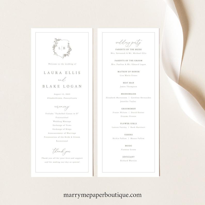 Printable Wedding Program Template Templett INSTANT Download Botanical Crest Elegant Wedding Ceremony Program Fully Editable