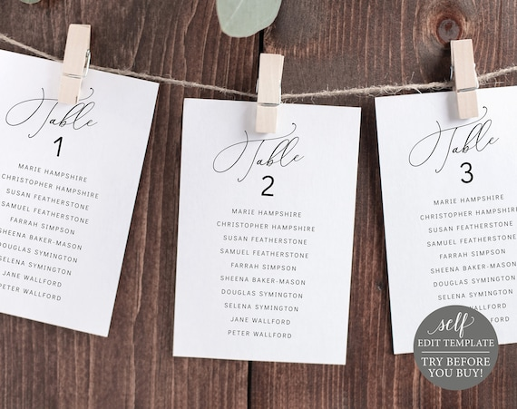 Wedding Seating Cards Template, Minimalist Style, Editable & Printable Instant Download, TRY BEFORE You Buy, Templett
