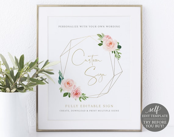 Create MULTIPLE Signs Template, Blush Pink Geometric, Demo Available, Order Edit & Download In Minutes