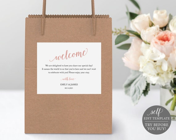 Guest Bag Label Template, Modern Rose Gold Script, Printable Editable Instant Download, Demo Available