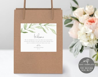 Guest Bag Label Template, Greenery Leaves, Editable Instant Download, TRY BEFORE You BUY