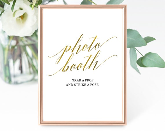 Faux Gold Wedding Photo Booth Sign Template, Printable Photo Booth Sign, Gold Wedding Printable, Wedding Sign, PDF Instant Download, MM07-3