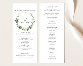 Wedding Program Template Tall, Elegant Greenery, Try Before Purchase, Editable Program Printable, Templett Instant Download