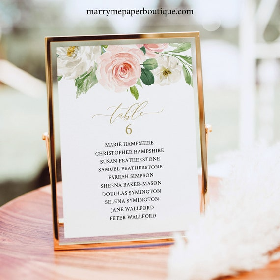 Wedding Seating Cards Template, Blush Pink Floral, 5x7 Seating Sign, Table Seating Card, Printable, Editable, Templett INSTANT Download