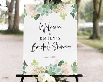 Succulent Floral Bridal Shower Welcome Sign Template, Green & Blush Bridal Shower Sign Printable, Templett Editable, Instant Download