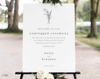Unplugged Ceremony Sign Template, Modern Rustic, Unplugged Wedding Sign, Printable, Editable, Templett INSTANT Download