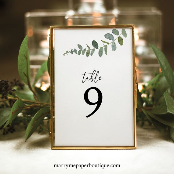 Table Number Template, Eucalyptus Greenery, Table Number Sign Printable, Templett Instant Download, Try Before You Buy