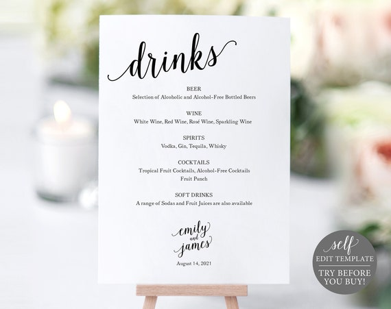 Bar Menu Sign, Wedding Bar Sign, Bar Sign, Wedding Bar Menu Printable, Drink Menu, Wedding Sign, Instant Download