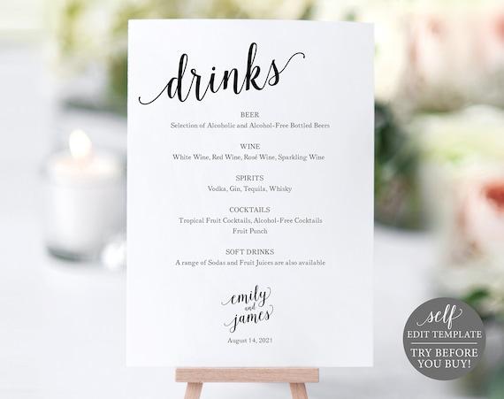 Bar Menu Sign, Wedding Bar Sign, Bar Sign, Wedding Bar Menu Printable, Drink Menu, Wedding Sign, INSTANT Download