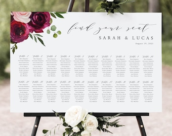 Wedding Seating Chart Template, Burgundy Flowers, Seating Plan, Seating Sign, Printable Poster, Editable, Templett INSTANT Download