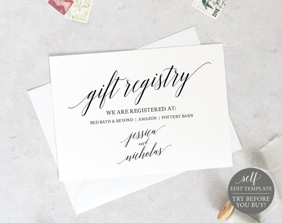 Wedding Registry Card Template, Calligraphy, TRY BEFORE You BUY, Editable Instant Download