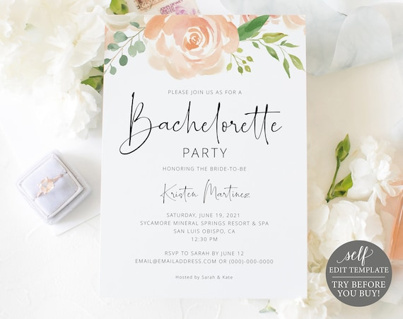 Bachelorette Party Invitation Template, Peach Floral, Editable Instant Download, TRY BEFORE You BUY