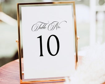 Table Number Template, Traditional Wedding Calligraphy, Monogram, Editable Wedding Table Number Sign Printable, Templett INSTANT Download