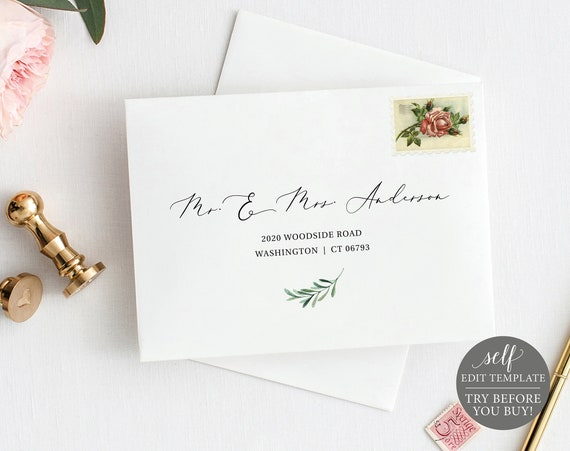 Envelope Address Template, Greenery Olive Branch, TRY BEFORE You BUY, Editable Instant Download
