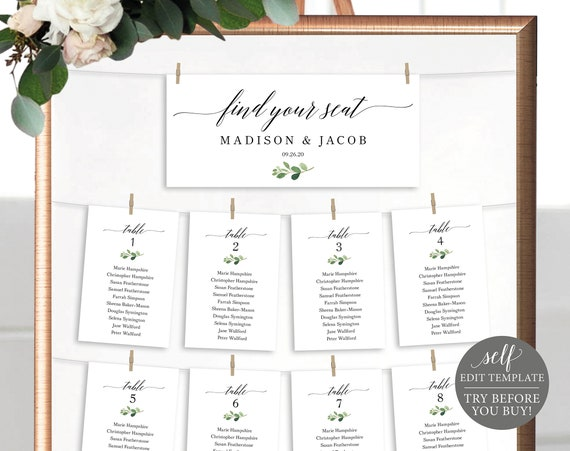 Wedding Seating Chart Template, TRY BEFORE You BUY, 100% Editable Seating Plan Printable, Greenery Seating Cards, Instant Download