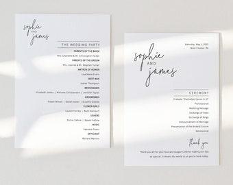 Wedding Program Template, Elegant Minimalist Wedding Ceremony Program, Printable, Templett INSTANT Download, 5x7, Fully Editable