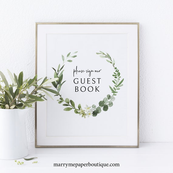 Guest Book Sign Template, Printable Sign, Instant Download, Non-Editable, Elegant Greenery