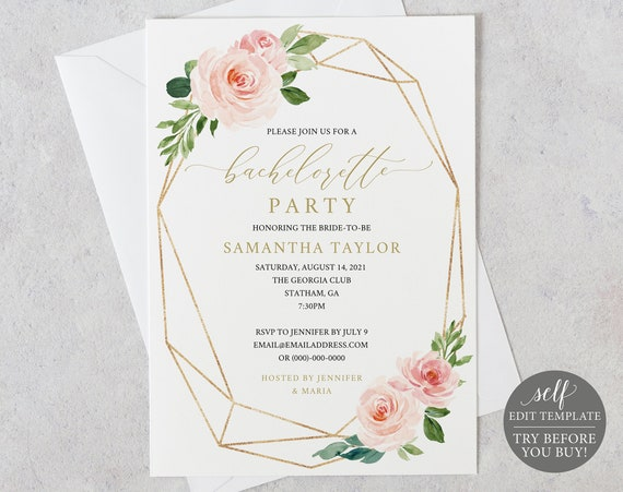 Bachelorette Party Invitation Template, Editable Instant Download, TRY BEFORE You BUY, Blush Floral Geometric