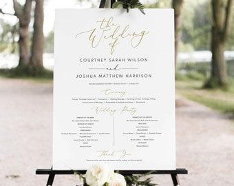 Wedding Program Sign Template, Elegant Gold, Demo Available, Editable & Printable Instant Download