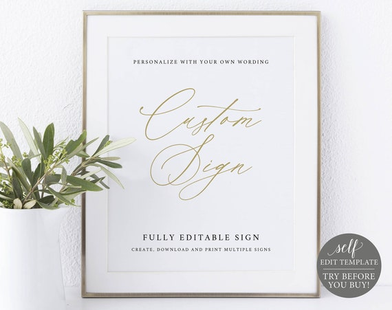 Create MULTIPLE Signs Template, Stylish Script Gold, Editable & Printable Instant Download, Demo Available, Templett