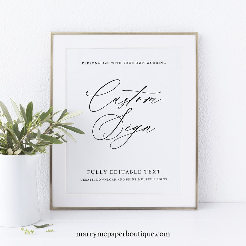 Create MULTIPLE Signs Template 8x10 Stylish Script Try image 0